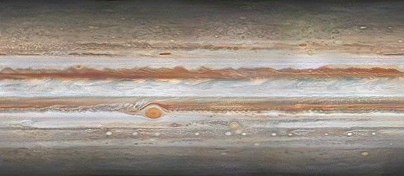 """A cylindrical projection of Jupiter's surface from the """"Journey to Jupiter"""" project led by Peter Rosén in Stockholm. Rosén's team combined more than 1,000 high-resolution photos of Jupiter taken over the course of 102 days to create a time-lapse video."""