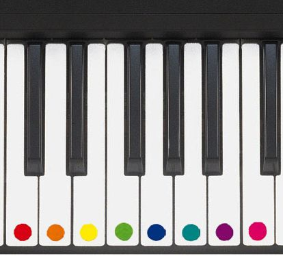 Using colored dots to learn the piano. ( correspond with BOOMWHACKERS )