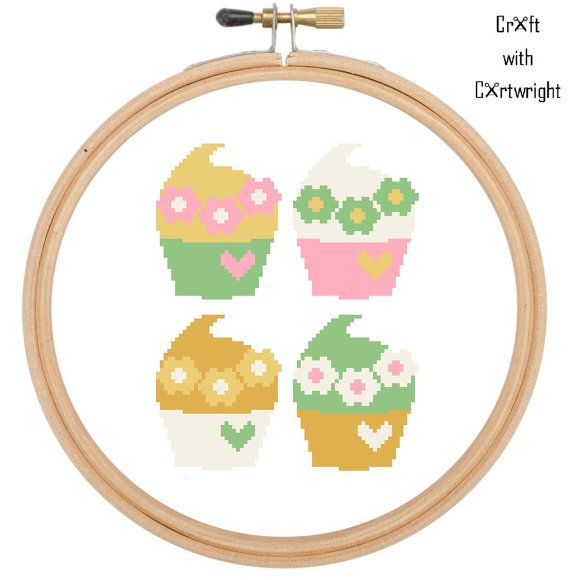 Cross stitch pattern Set of four cupcakes £2.40 by CraftwithCartwright