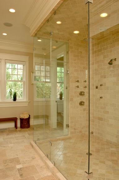 extra large frameless shower, tile color