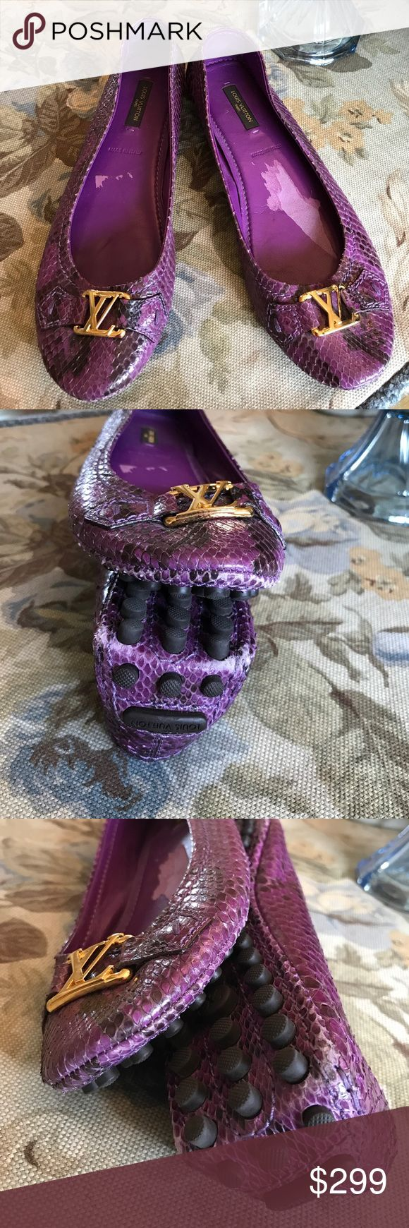 🆕 listing💜Louis Vuitton ballerina Oxford flats💜 💜 Beautiful purple Louis Vuitton flats made in Italy. Tag in sole of shoe was torn out and some unnoticeable wear on left heel more than right and front toe more than left. But still fantastic deal in this pair of shoes. You'll have hard time finding these. Lovely 💜 Louis Vuitton Shoes Flats & Loafers