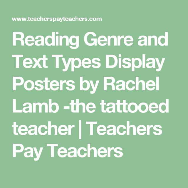 Reading Genre and Text Types Display Posters by Rachel Lamb -the tattooed teacher | Teachers Pay Teachers