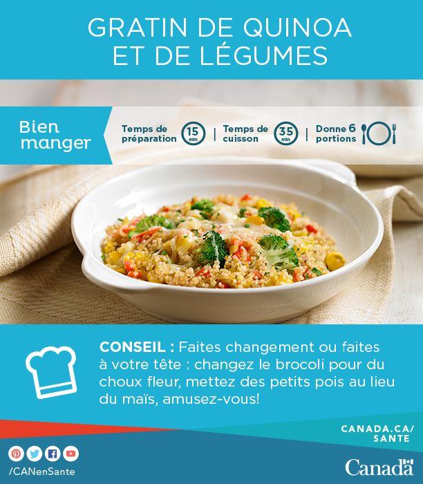 Videz votre frigo de tous ses légumes grâce à cette recette de gratin au quinoa et aux légumes. La garniture au fromage en fait un met irrésistible : http://www.canadiensensante.gc.ca/eating-nutrition/healthy-eating-saine-alimentation/tips-conseils/recipes-recettes/quinoa-fra.php?utm_source=pinterest_hcdns&utm_medium=social_fr&utm_content=apr14_quinoacasserole&utm_campaign=social_media_15