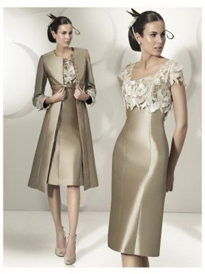 Sheath/Column Sleeveless Square Knee-Length Applique Satin Mother of the Bride Dresses