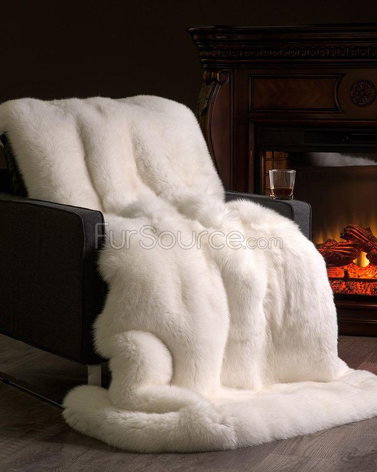Full Pelt White Fox Fur Blanket / Fur Throw: FurSource.com