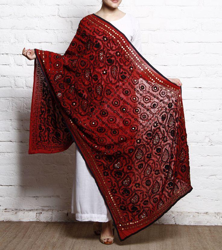 Red #Phulkari #Chiffon #Dupatta