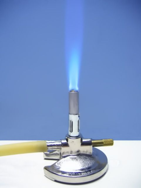 bunsen burner in high school science lab