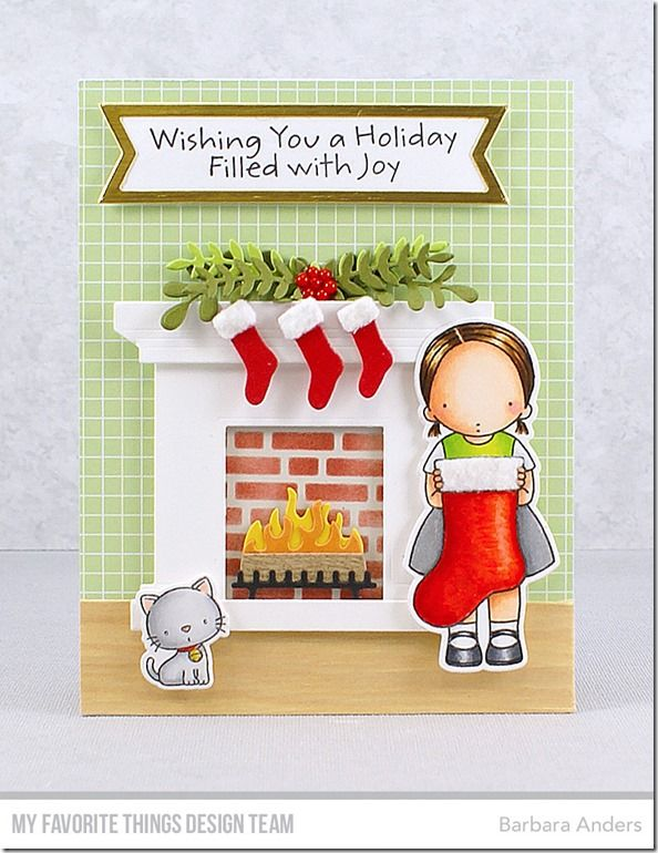 Stamps: PI Filled With Joy, BB New Best Friend, Wood Plank Background Die-namics: PI Filled With Joy, BB New Best Friend, Fireplace, Fishtail Flag Frames, Fab Foliage Stencils: English Brick Wall  Barbara Anders   #mftstamps