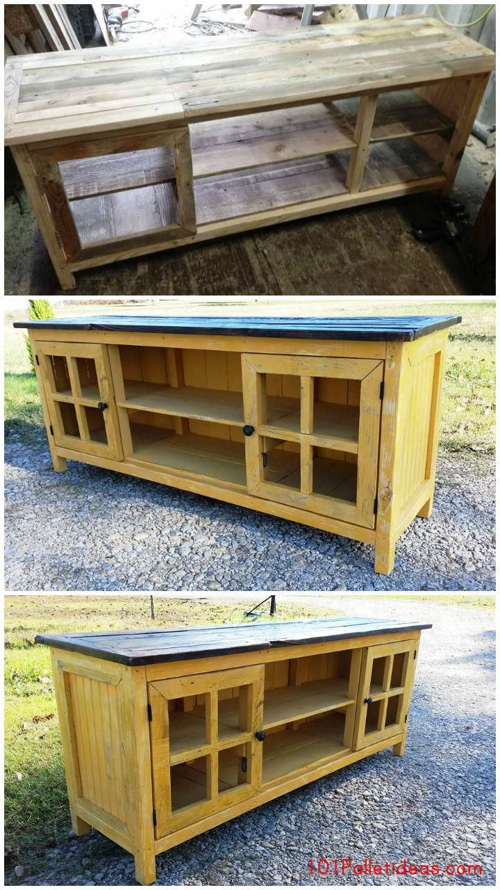 Pallet TV Stand or Media Console - 101 Pallet Ideas