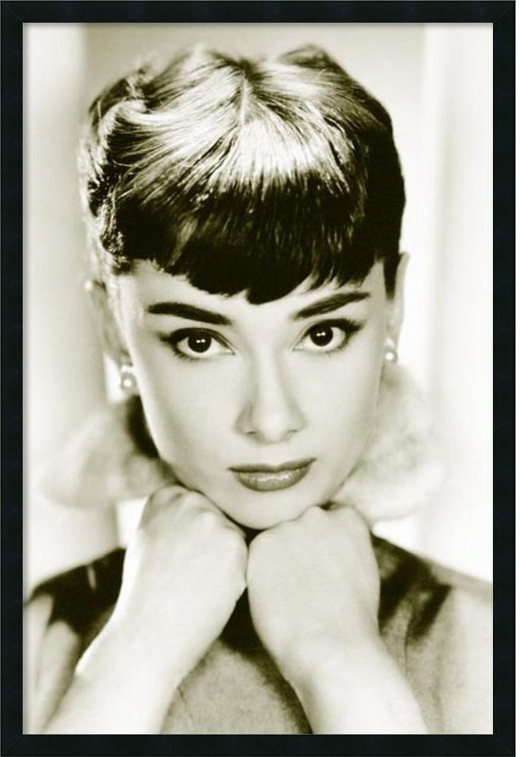 "0-028904>38x26"" Audrey Hepburn Sepia Wall Art Satin Black"