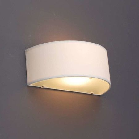 Vägglampa med skärm 'Drum R' Moderna benvit/tyg - Passande för LED / Inomhus