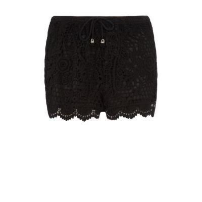 $14, Black Crochet Shorts: New Look Black Crochet Shorts. Sold by New Look. Click for more info: http://lookastic.com/women/shop_items/60503/redirect