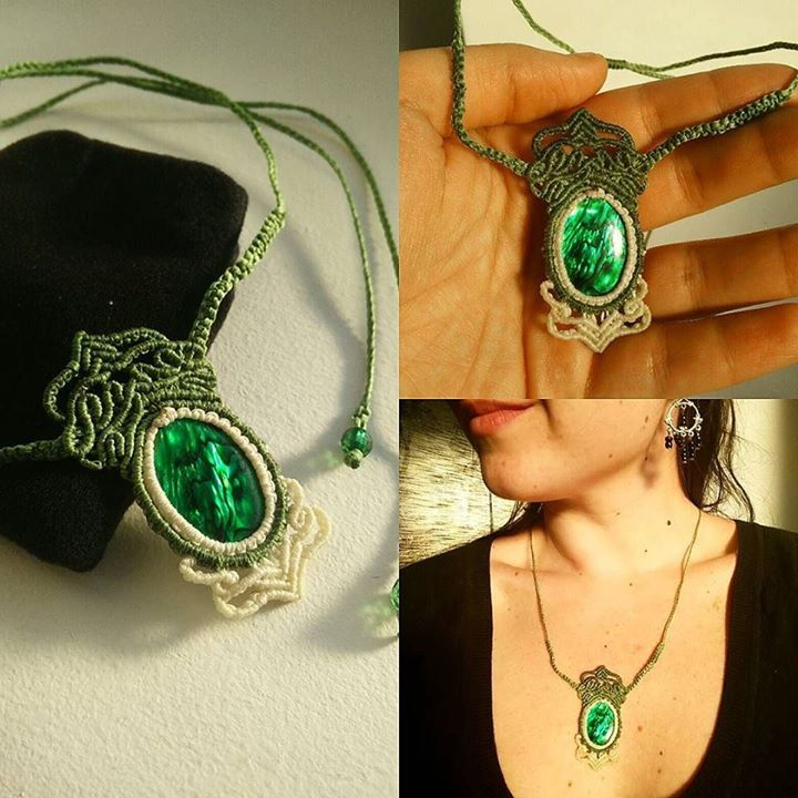 Macrame necklace with green abalone shell custom made for a birthday gift. Stunning green color for our dearest friend @ade_blech