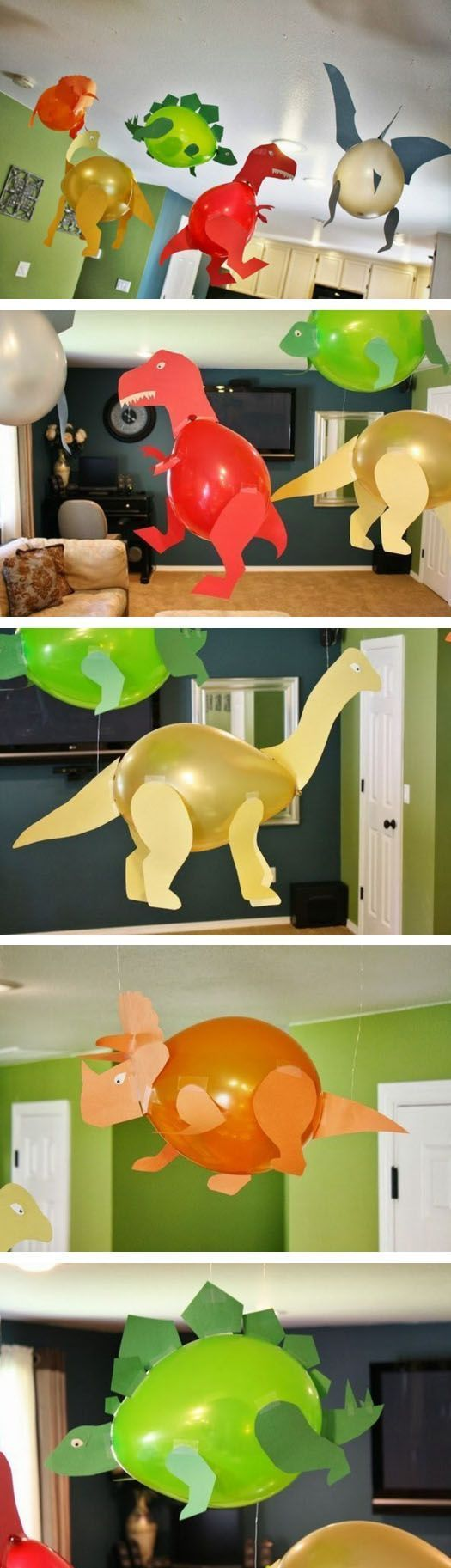 Ballons and paper is all you need to make dinosaur home decor for kids party.