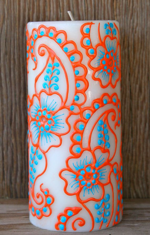 Henna Style Painted Candle, Turquoise and Coral Orange, Ivory Pillar Candle, Fresh Linen Scent