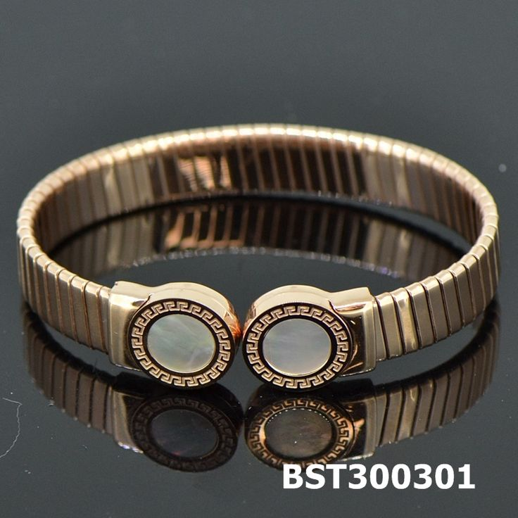 Fashion Stainless Steel Rose Golden Bangle Shell#BST300301
