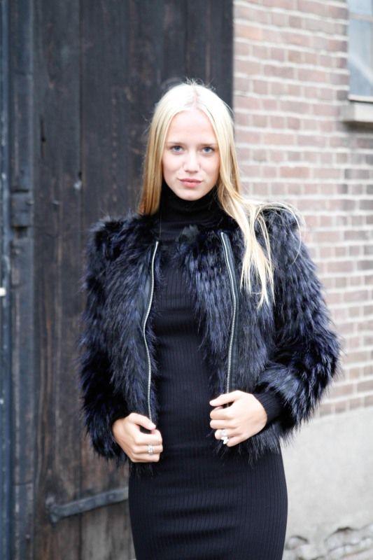 Faux Fur Moter Jacket Black-Blue