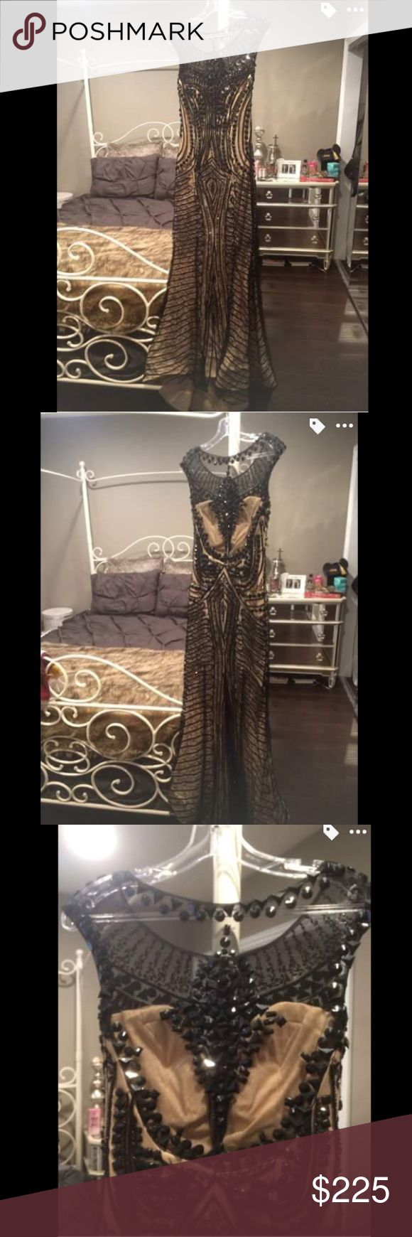 Black and nude ball gown/ prom dress Black and nude ball gown/ prom dress full beaded with black rhinestones and beads, sheer beaded back white a slight train in the back. Open to any offers💋 Dresses Prom