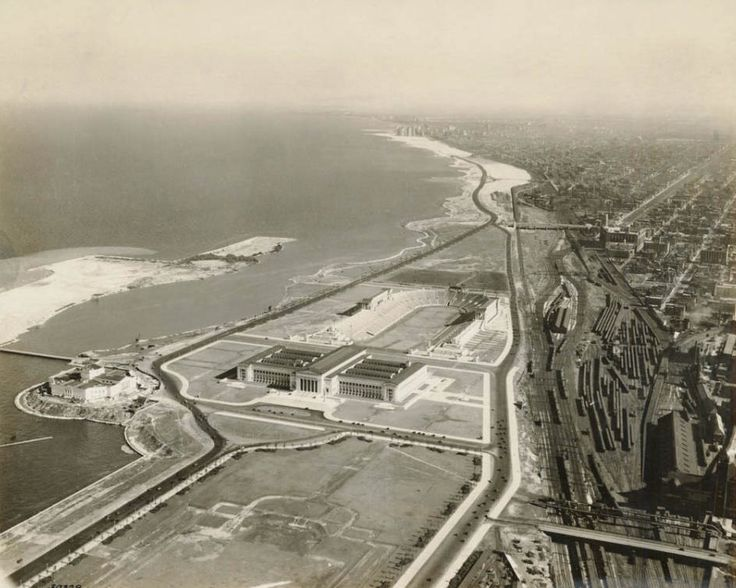 Looking south [over] the Field Museum and a newly completed Soldier Field, 1924, Chicago. So open!