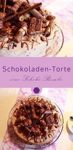 Rezept: Schokoladen-Torte – ein Traum aus Schokolade:  verziert mit einem Übe…