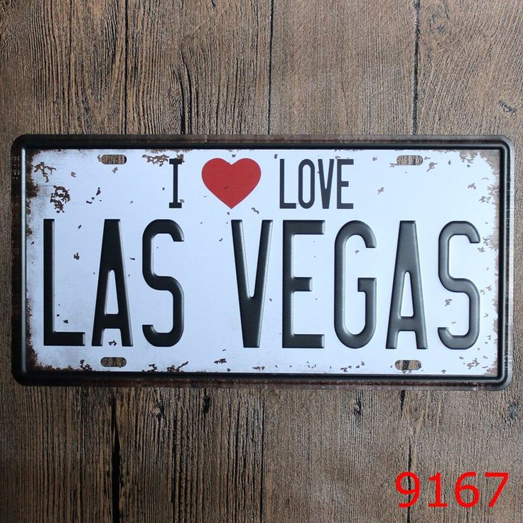 Vintage Style I LOVE LAS VEGAS Wall Sticker Tin Sign Metal License Plate Antique Metal Tin Poster Coffee & Pub Shop Wall Decor #Affiliate