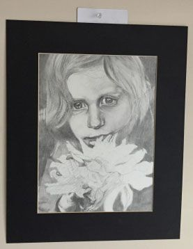 Portrait pencil drawing of a girl holding a bouquet of flowers. The reference was taken from feverishly browsing Flickr for a good photograph. When it comes to portrait drawings, that means a lot of contrast between black and white volumes. Once I see something like that, I have to draw it!