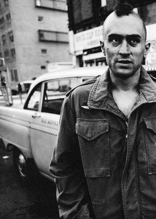 Robert De Niro as Travis Bickle in Taxi Driver directed by Martin Scorsese (1976).