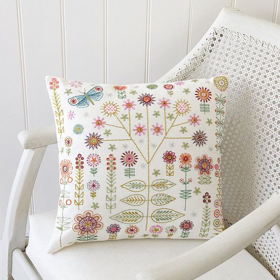The Garden kit is larger and more elaborate than our regular stitch kits. You can use it as a stand alone framed sampler but it works really well as a panel on a cushion cover.  The pack includes a linen/cotton mix fabric panel with a printed design, showing clearly where to sew the decorative stitches. There is a guide to show the embroidery stitches required, and a colour coded stitch map showing you where to place them. The kit comes complete with a needle and embroidery threads in an...
