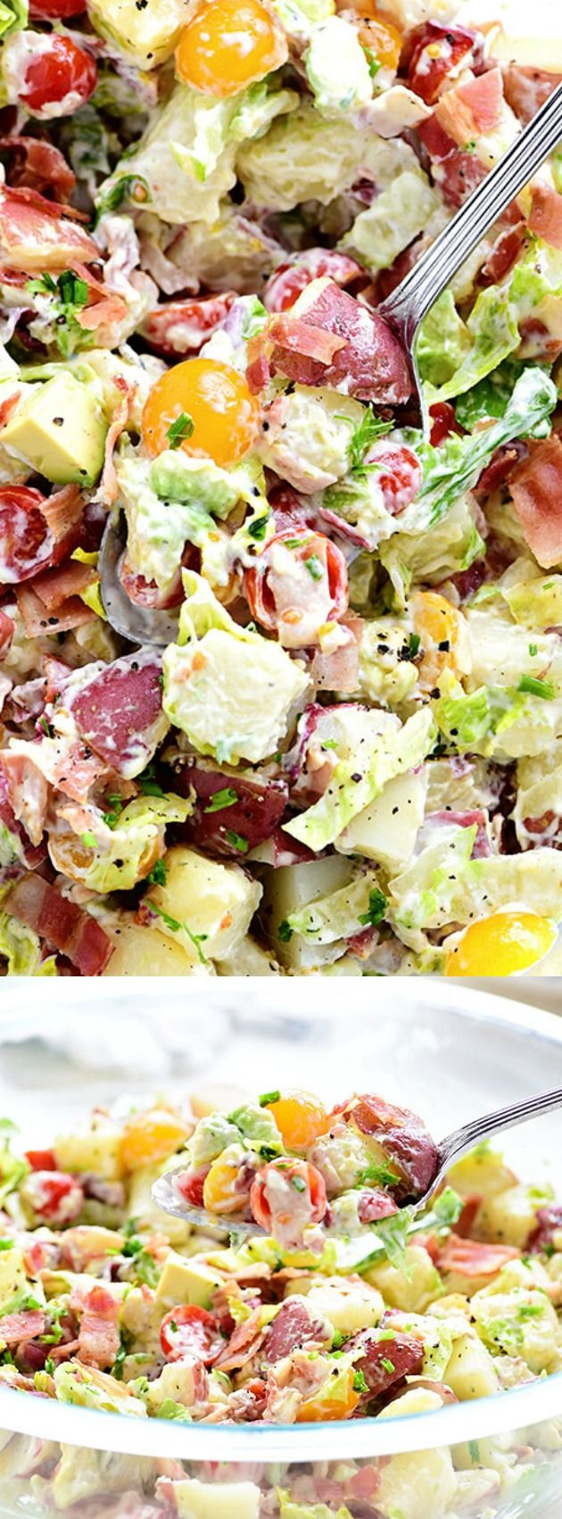 This BLT Red Potato Salad with Avocado from Tidy Mom has an amazing and creamy avocado ranch dressing along with crispy bacon, crisp lettuce, and fresh tomato! It's a simple and crowd pleasing dish for any size gathering!