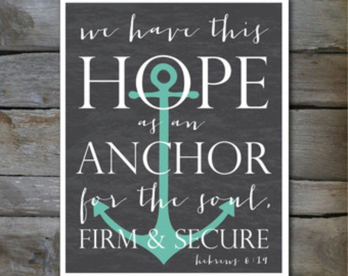 La esperanza como un verso de la Biblia del ancla 8 x 10, o 11 x 14 imprimir Hebreos 6:19 en pizarra en teal