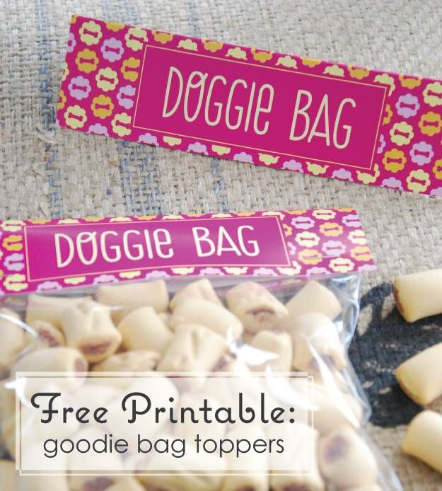 Free Printable: Doggie Bag Topper #PoochPawty #DogBIrthdayParty #PuppyShower