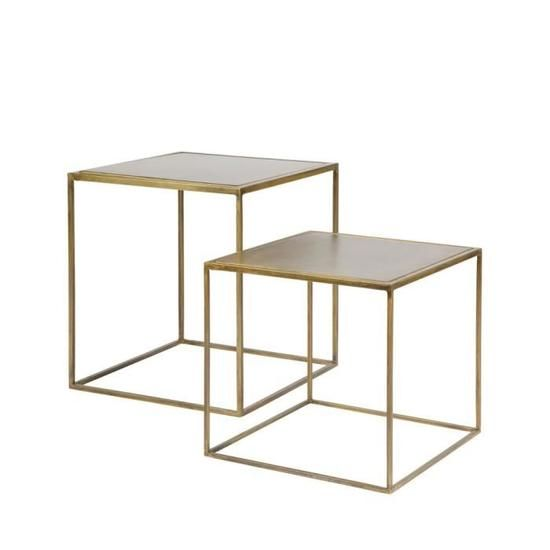 Lot De 2 Tables Basses Gigognes En Laiton Aes Couleur