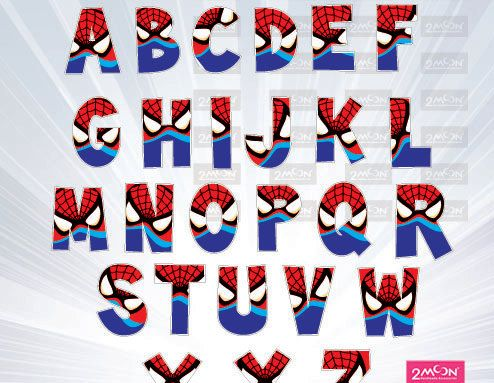 Spiderman Alphabet PNG  - super font - Super hero Movie Inspired Alphabet Clipart, Printable Lego Movie Letters - clipart, Invitations by 2moon on Etsy