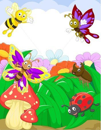 Planse de colorat si fise pentru copii: IMAGINI cu INSECTE pentru copii / ILUSTRATII