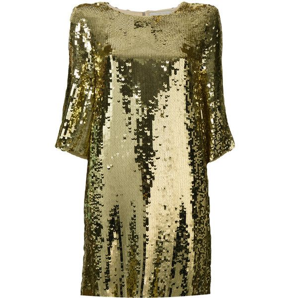 Amen sequined T-shirt dress ($715) ❤ liked on Polyvore featuring dresses, t shirt dress, sequin embellished dress, tee shirt dress, brown sequin dress and sequin t shirt dress