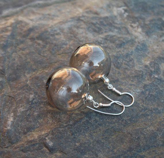 Earrings. Grey art glass от LikeAGlassShop на Etsy