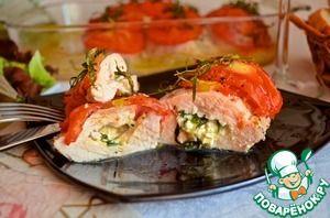 Рецепт: Куриная грудка, фаршированная козьим сыром
