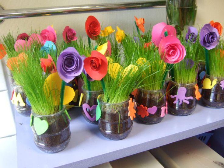 Blé à germer et petites fleurs pour la fête des mères.