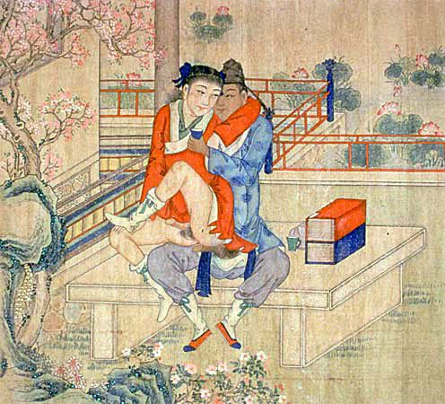 Young men drinking, reading poetry, and making love. China, Qing dynasty (18th–19th c.)