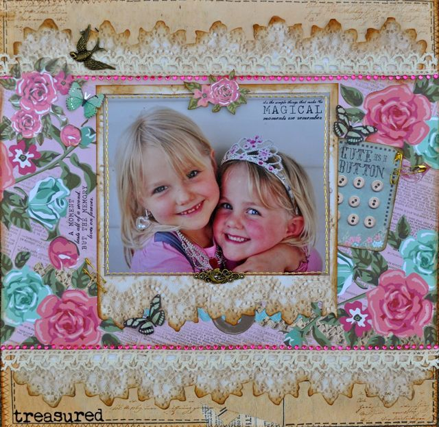 Flowery and feminine ... a layout made using the Needle and Thread collection by Kaisercraft.  By Kelly-ann Oosterbeek.
