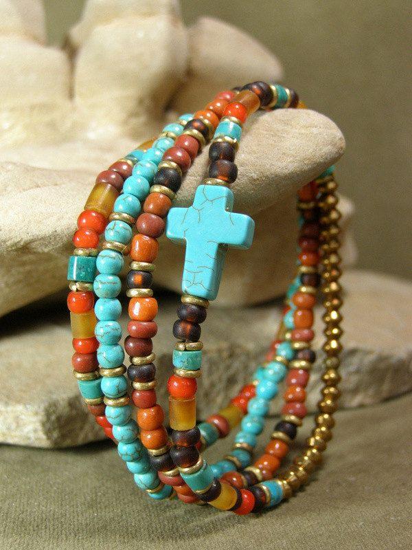 Womens Bracelet - Turquoise Bracelet - Cross Bracelet - Tribal Bracelet - Beaded Bracelet  - Ethnic Jewelry - Southwest Native. $38.00, via Etsy.
