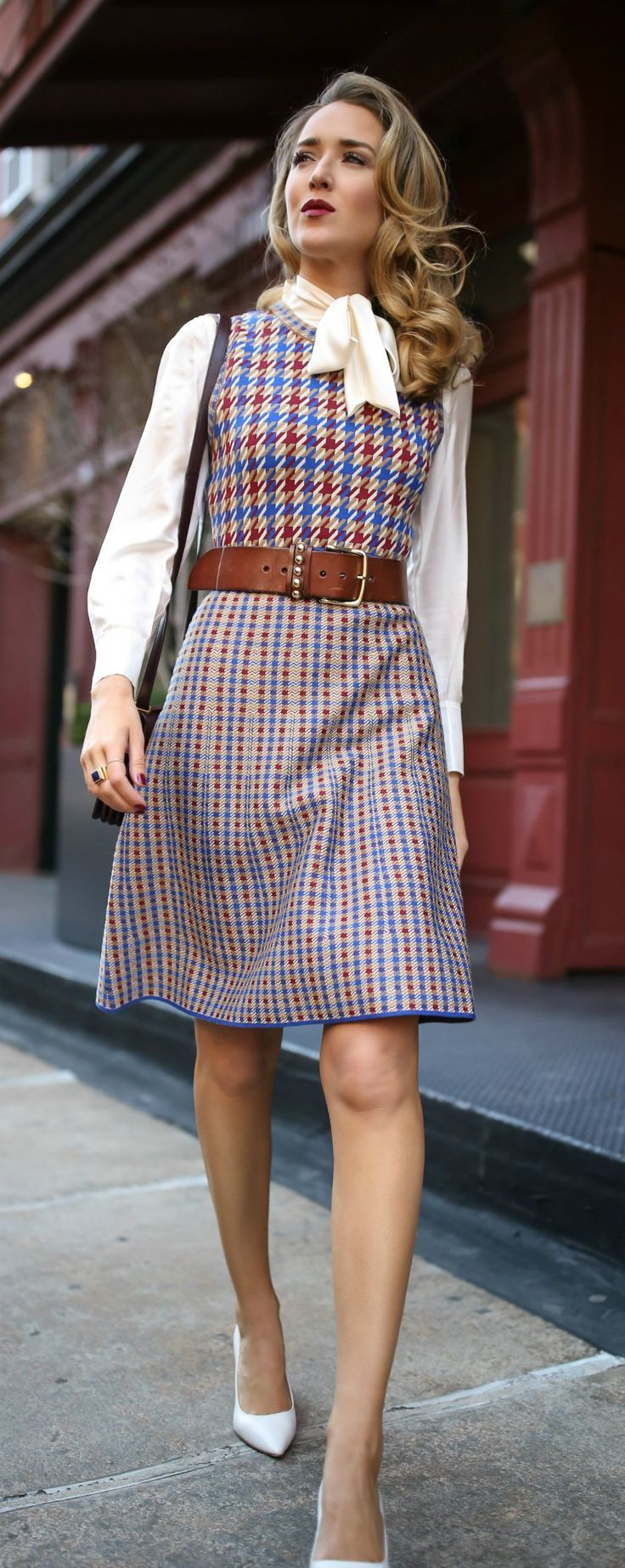 Blue, red and white checked knit dress, white tie-neck blouse, brown leather waist belt, white block heel pumps, suede burgundy crossbody bag {Tory Burch, YSL, fall fashion, what to wear on Thanksgiving, Thanksgiving outfit, classic fall dress, street style, classic dressing}