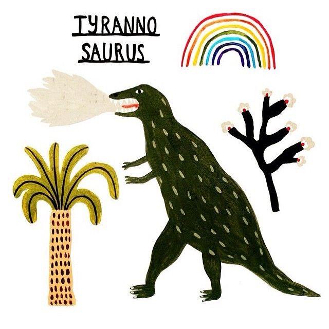 Youngbuin @kshlsy13 #illustration #tyrannosaurus #rainbow #youngbuin