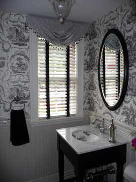 Powder Room with Black and White toile wallpaper - traditional - bathroom - boston - Jo Cook Interior Design