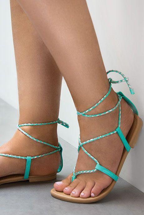 mintgroene gevlochten sandalen