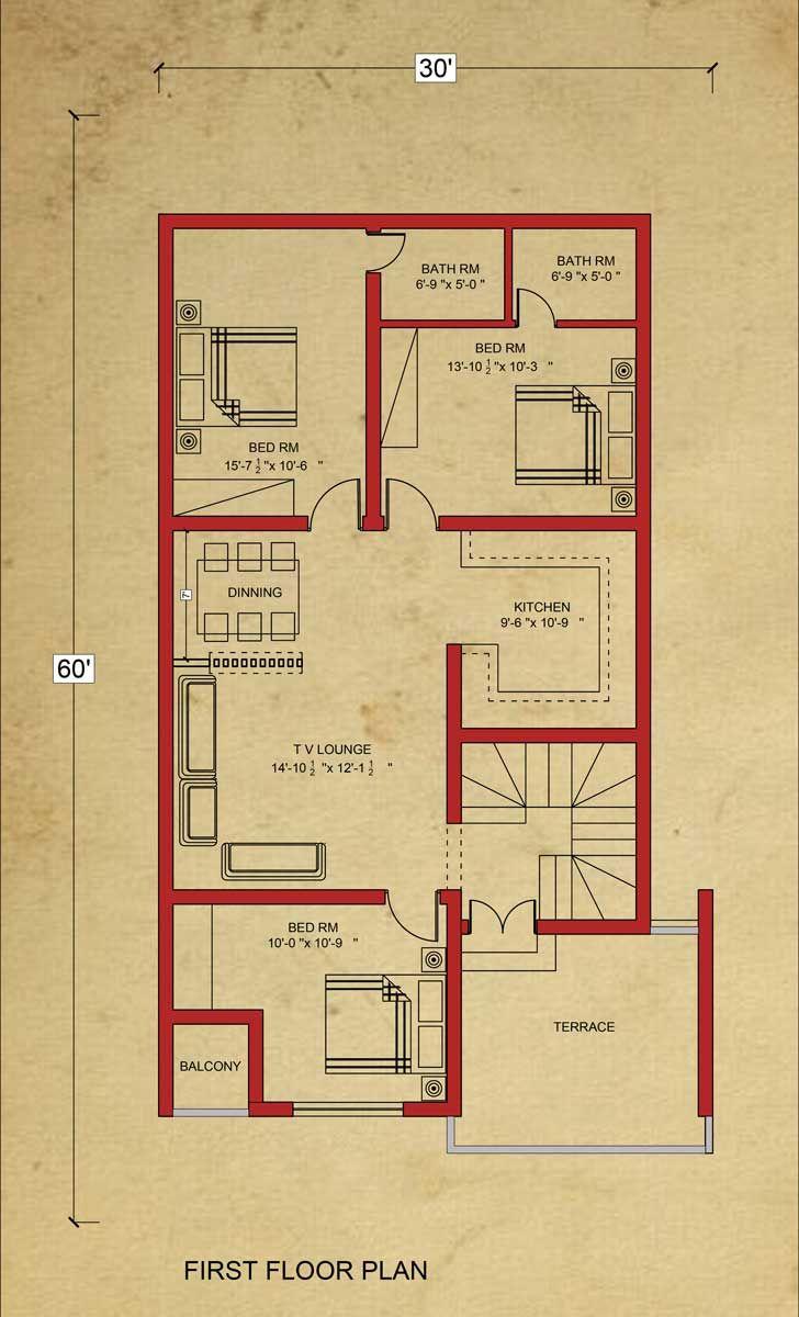 House Floor Plan 8 Marla House Plan At Bahria Town Lahore Floor Plan Drawing 20x40 House Plans Floor Plan Design