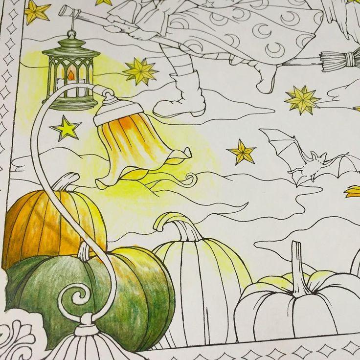 カボチャ🎃  ハロウィンまでに塗り終わるかしら…💧 #おとなの塗り絵 #大人の塗り絵 #塗り絵#カボチャ#幸せのメヌエット #江種鹿乃子 #ホルベイン#ファーバーカステル#色鉛筆#adultcoloringbook #coloredpencil #coloring #coloringbook