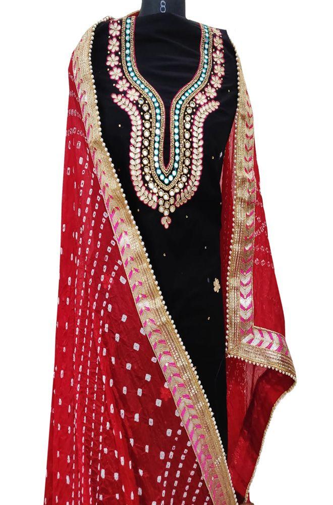 e84f40c70b70 Black Gota Work Chanderi Silk Suit Set With Silk Bandhani Design Dupatta  #gotawork#chanderisilksuit#unstitched#