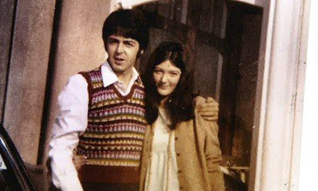 Freda Kelly, the Beatles secretary, and Paul McCartney outside the Atlantic Hotel in Newquay, 1967, during filming of Magical Mystery Tour.