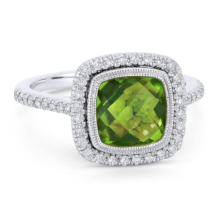 Angara Double Claw Cushion Peridot Diamond Art Deco Framed Ring Platinum bHh8QXJQ
